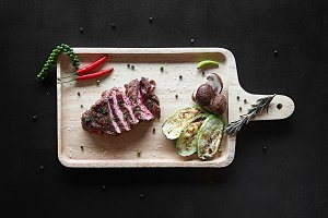 Grilled beef steak with spices and