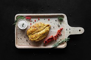 Grilled chicken fillets and