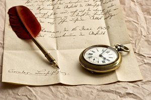 Old letter and antique pocket watch