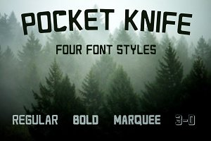 Pocket Knife - Font in Four Styles