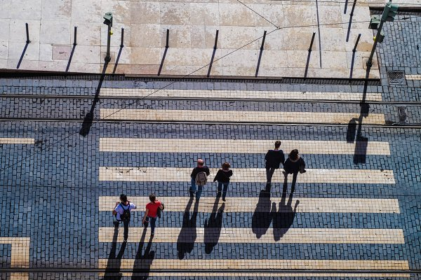 Transportation Stock Photos - Zebra crossing from bird's eye view