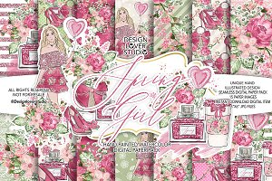 -50% Spring Girl digital paper pack