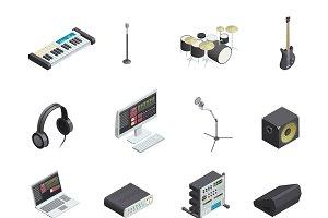 Music studio icons set