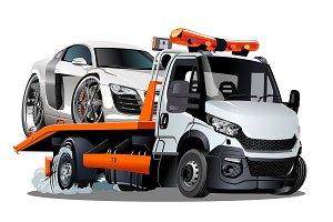 Cartoon tow truck isolated on white