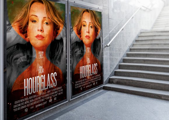 hourglass movie poster template flyer templates creative market