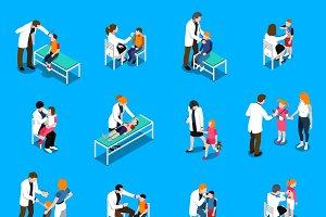 Child diseases isometric icons