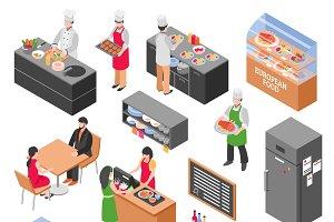 Isometric restaurant icons set