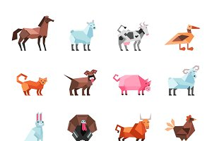 Geometric farm animals set