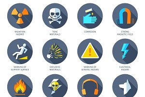 Dangerous hazard icons set