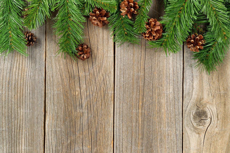 Christmas Border On Aged Wood Holiday Photos Creative