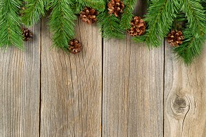 Christmas border on aged wood