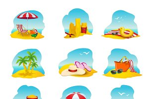Beach and summer cartoon icons