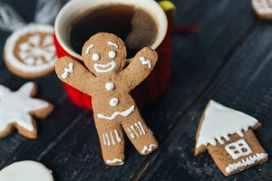 Christmas gingerbread cookies and a