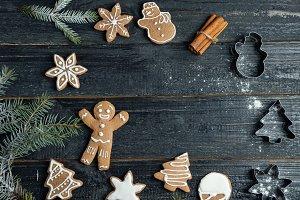 Christmas gingerbread cookies on woo