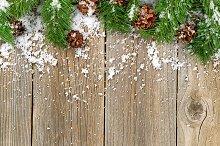 Christmas border with snow
