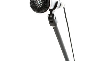 close up view of electric microphone