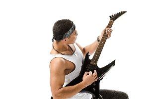 Handsome male musician