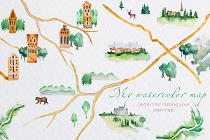 My Watercolor Map Clipart Set