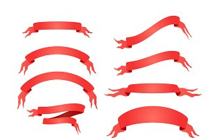 Set of 10 bright red elegant tapes