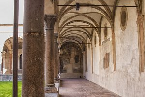 Medieval hallway of Italian cloister