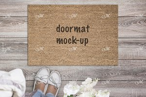 Spring Doormat Mock-up PSD+JPG