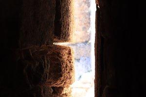 Ancient tower window sun light
