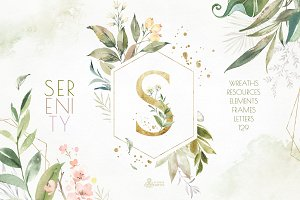 Serenity. Watercolor Floral Kit