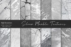 Silver Marble Textures, Backgrounds