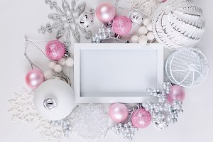 Christmas card with beautiful pink a