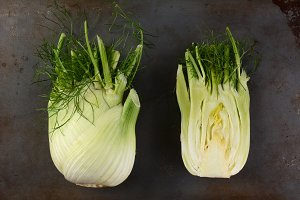Whole and Cut Fennel Bulbs