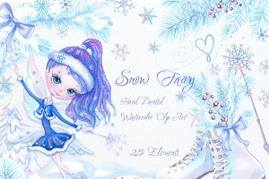 Winter Watercolor Clipart Snow Fairy