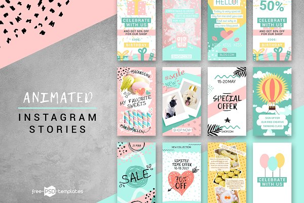 Templates: Free-PSD-Templates - 10 Animated Instagram Stories