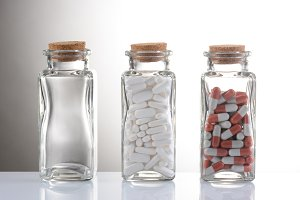 Pills in Clear Bottles