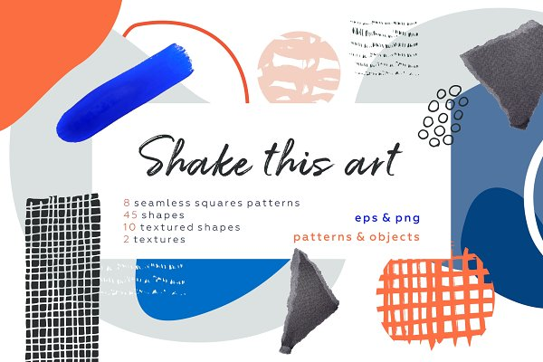 Graphic Patterns - Shake this art! Collage pattern set.