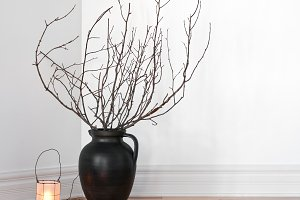 Lanterns and tree branches decor