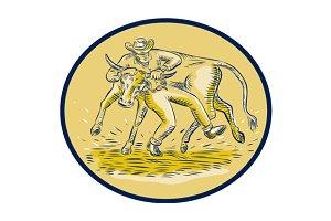 Rodeo Cowboy Steer Wrestling Bull Ov