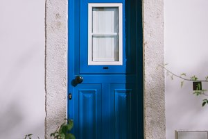 Small traditional blue door of the