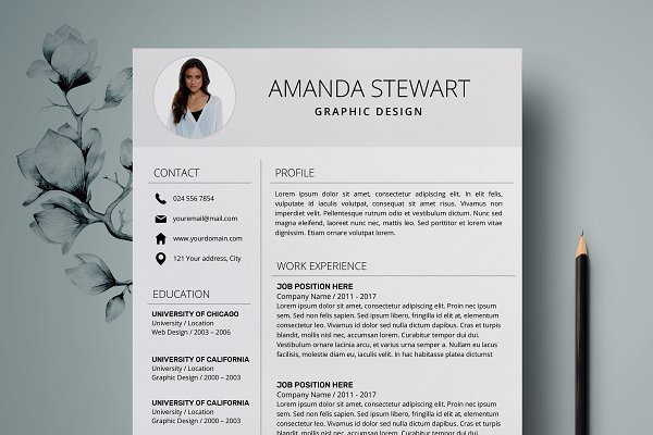Resume Template 4 page pack | Aqua ~ Resume Templates ~ Creative Market
