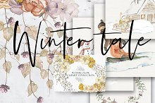 Winter Tale - Watercolor Clipart Set by  in Objects