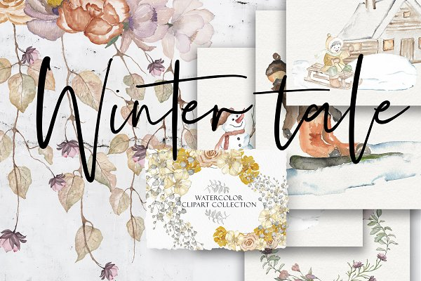 Graphic Objects: Iulia paints - Winter Tale - Watercolor Clipart Set