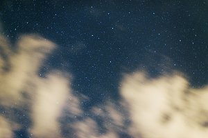 Stars and moving clouds