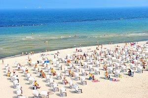 Baltic Sea beach tourists
