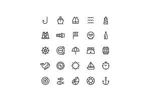Nautical Sea Line Icons