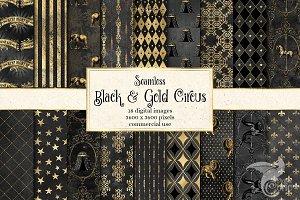 Black and Gold Circus Digital Paper