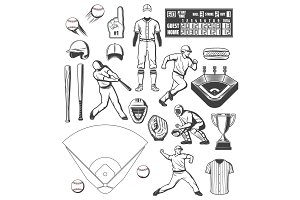 Baseball sport equipment and players