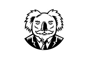Koala With Moustache Woodcut Black a