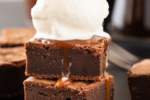 Chocolate brownies with salted