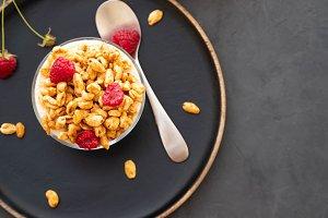 Bowl of granola with yogurt and