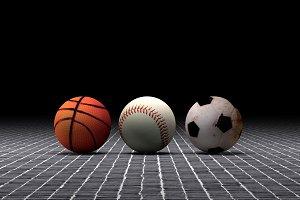 Basketball, baseball and soccer ball