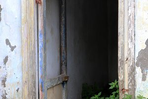 An old doorway in an abandoned house
